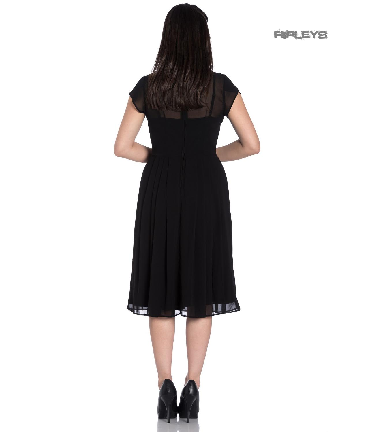 Hell-Bunny-40s-50s-Elegant-Pin-Up-Dress-PAIGE-Black-Chiffon-All-Sizes thumbnail 8