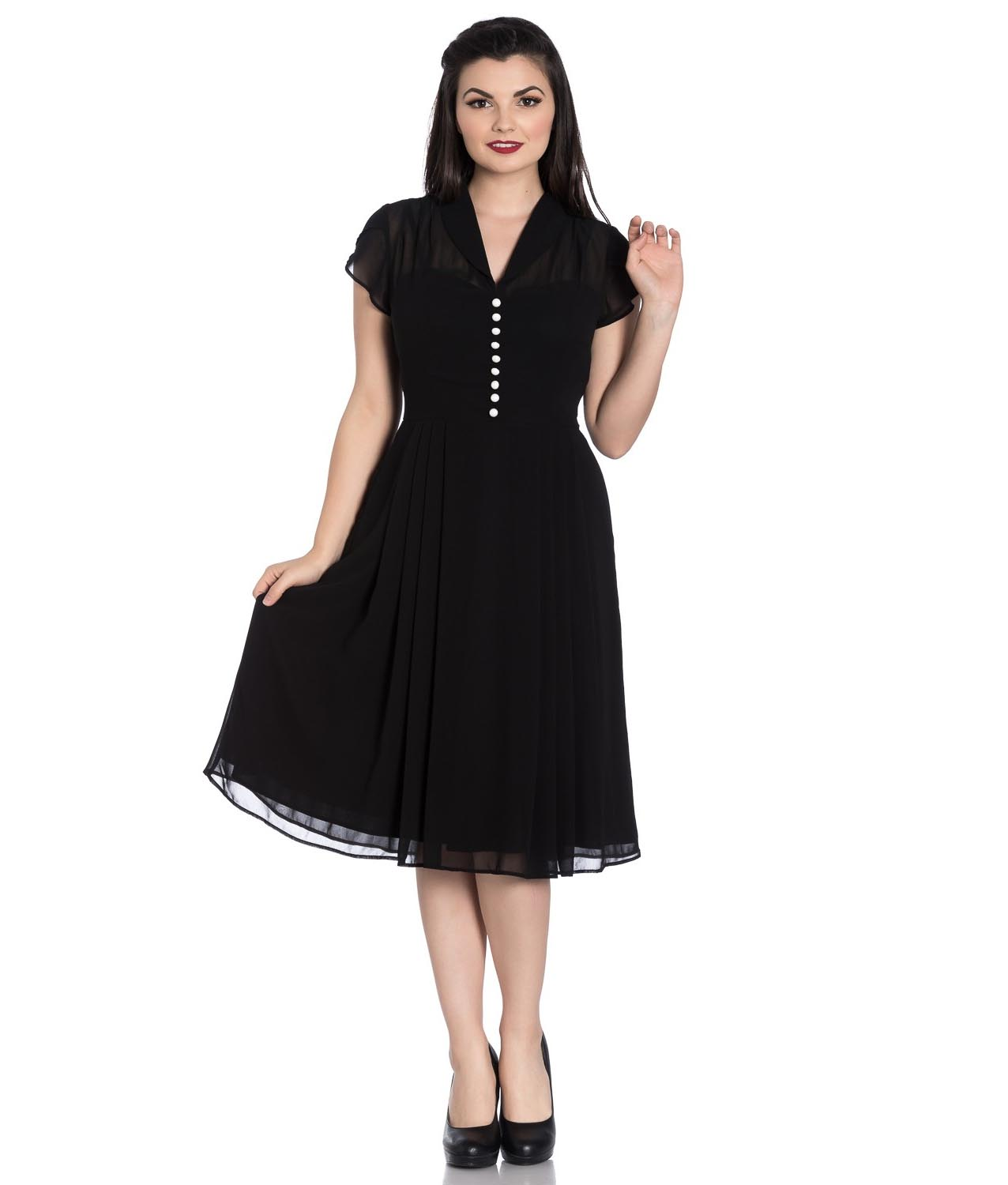 Hell-Bunny-40s-50s-Elegant-Pin-Up-Dress-PAIGE-Black-Chiffon-All-Sizes thumbnail 3