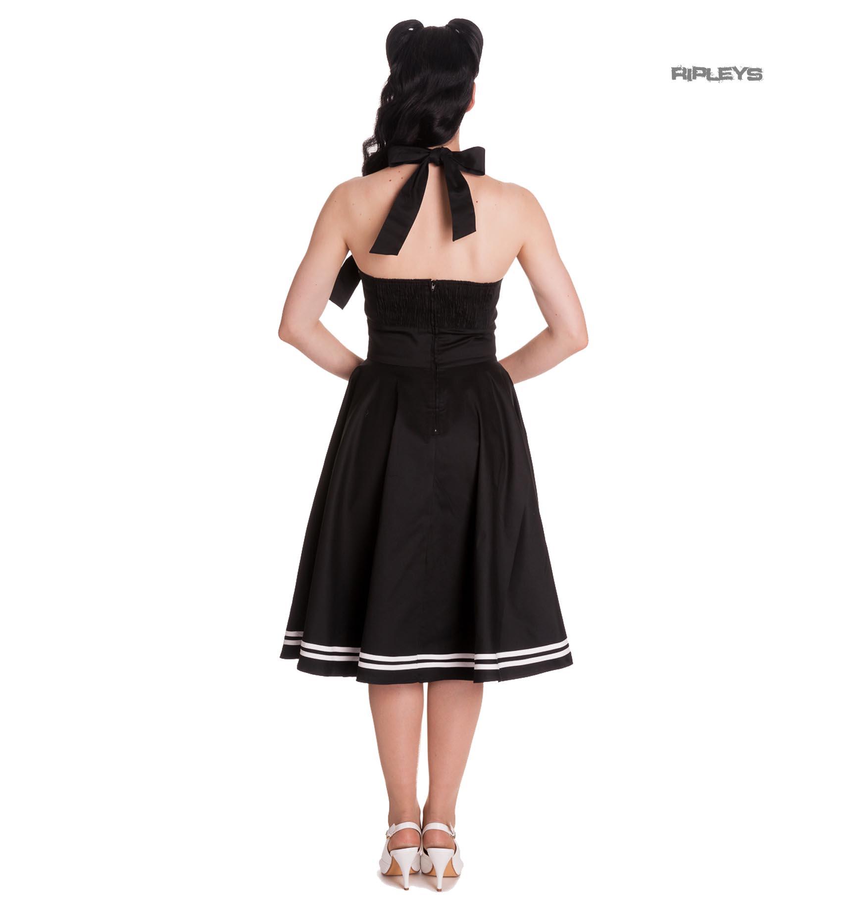 Hell-Bunny-Pin-Up-50s-Black-Dress-Nautical-MOTLEY-Sailor-Anchor thumbnail 4