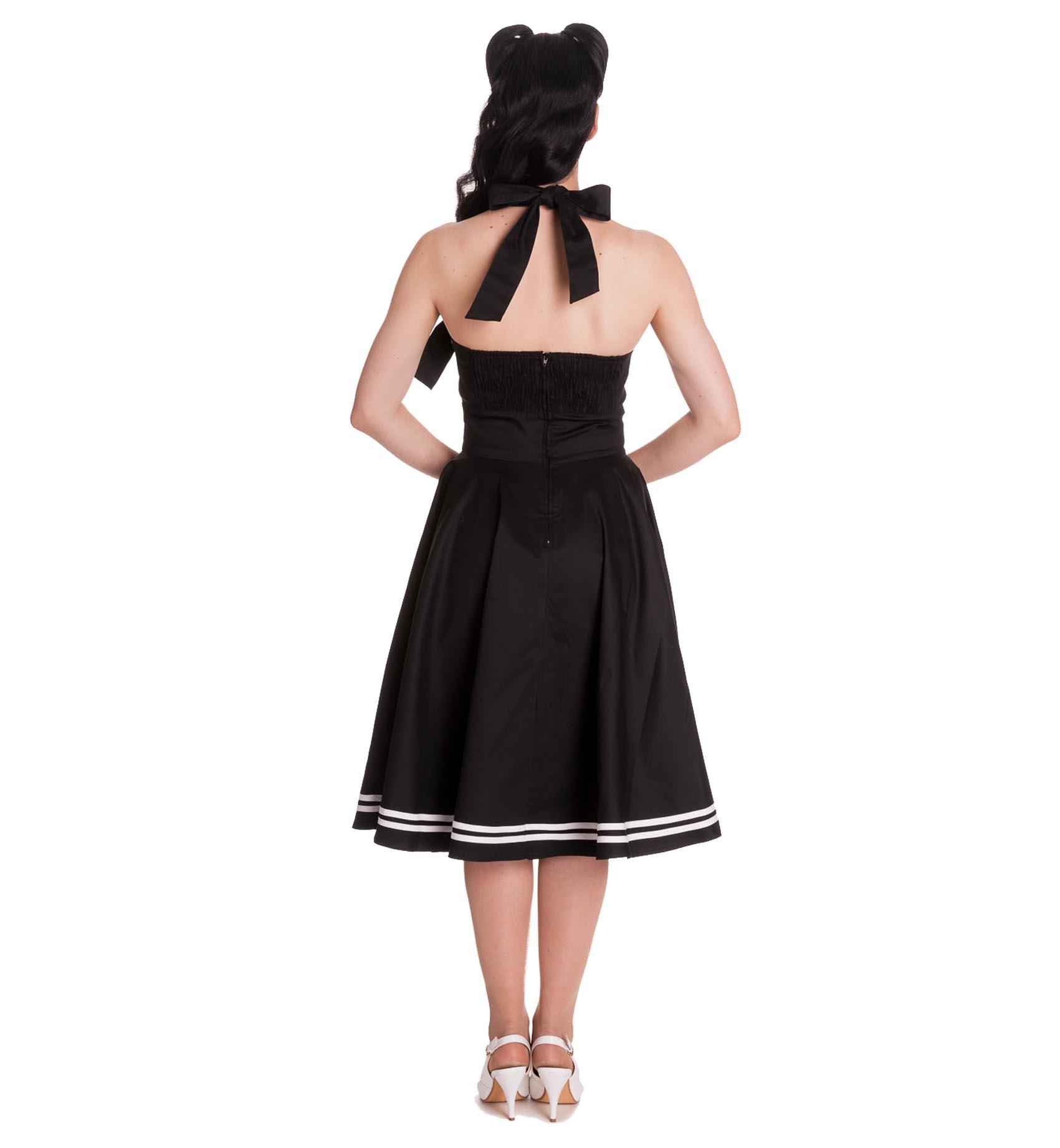 Hell-Bunny-Pin-Up-50s-Black-Dress-Nautical-MOTLEY-Sailor-Anchor thumbnail 5