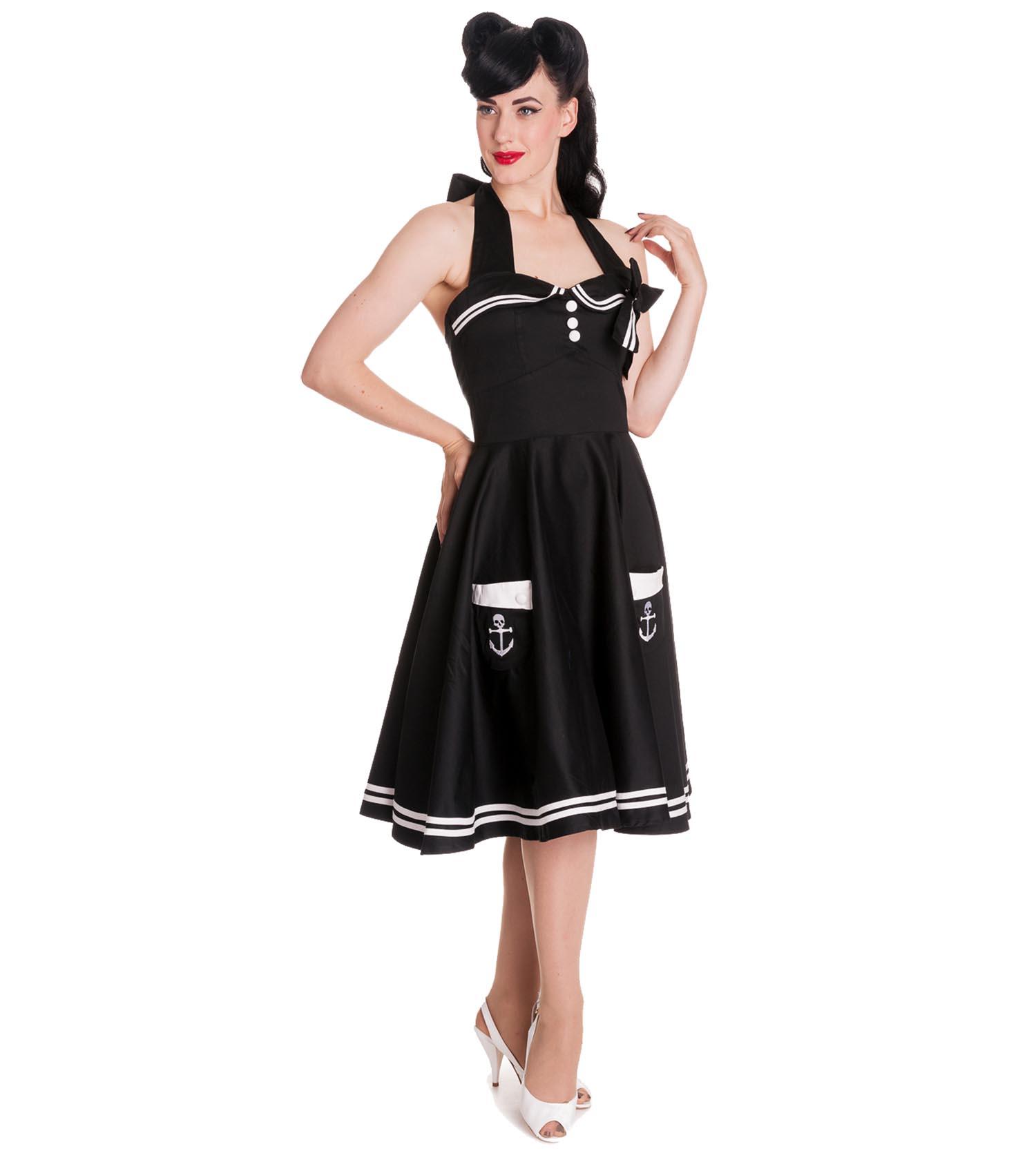 Hell-Bunny-Pin-Up-50s-Black-Dress-Nautical-MOTLEY-Sailor-Anchor thumbnail 3