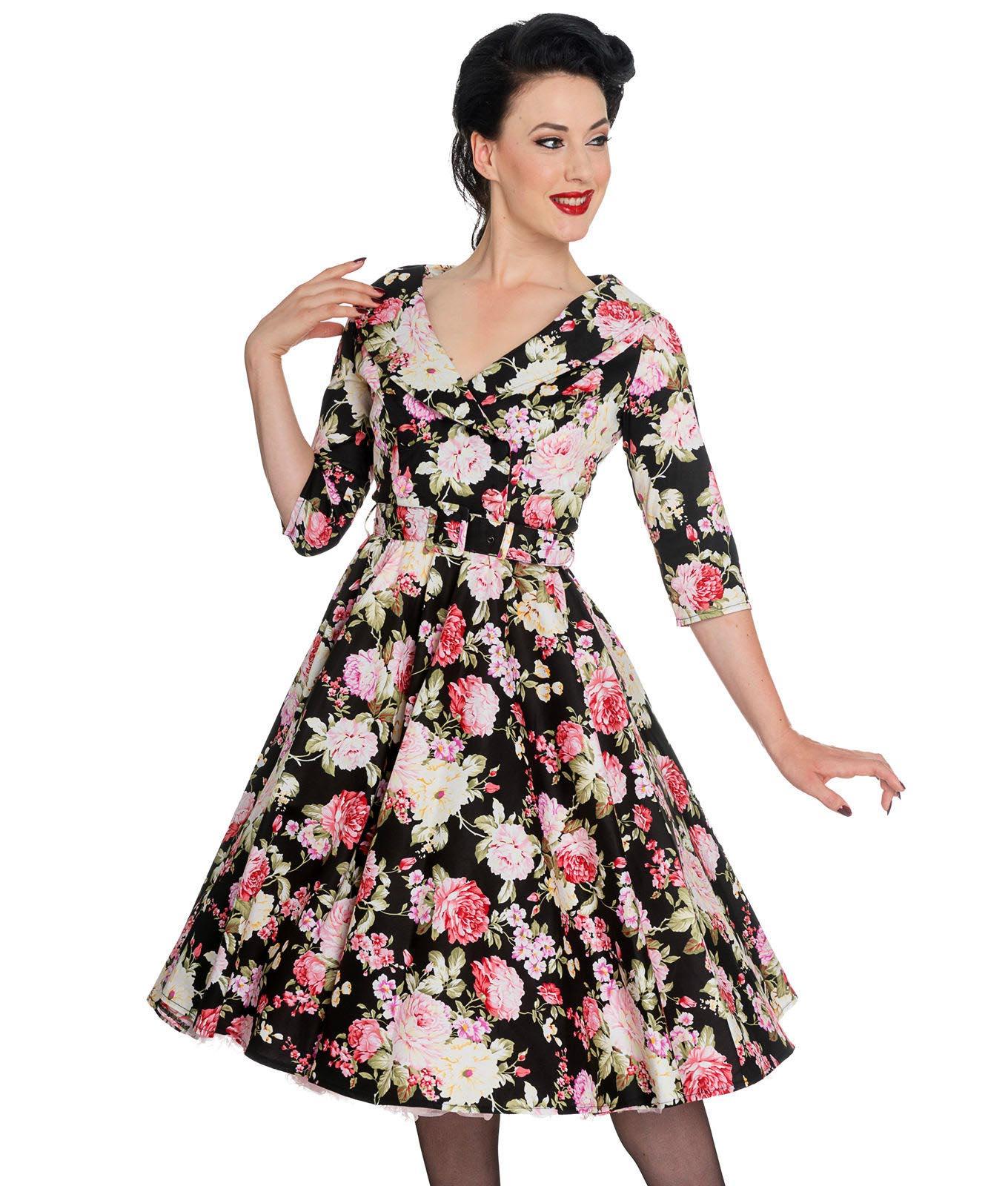 Hell-Bunny-40s-50s-Black-Pin-Up-Swing-Dress-DAHLIA-Pink-Flowers thumbnail 3