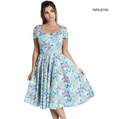 Hell Bunny Pin Up Pastel Blue 50s Dress YOKO Floral Flowers Preview