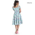 Hell Bunny Pin Up Pastel Blue 50s Dress YOKO Floral Flowers Thumbnail 3
