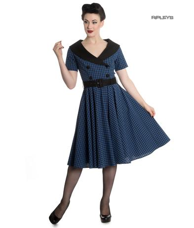 Hell Bunny 40s 50s Pin Up Swing Dress Black Navy BRIDGET Gingham All Sizes
