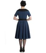 Hell Bunny 40s 50s Pin Up Swing Dress Black Navy BRIDGET Gingham All Sizes Thumbnail 4