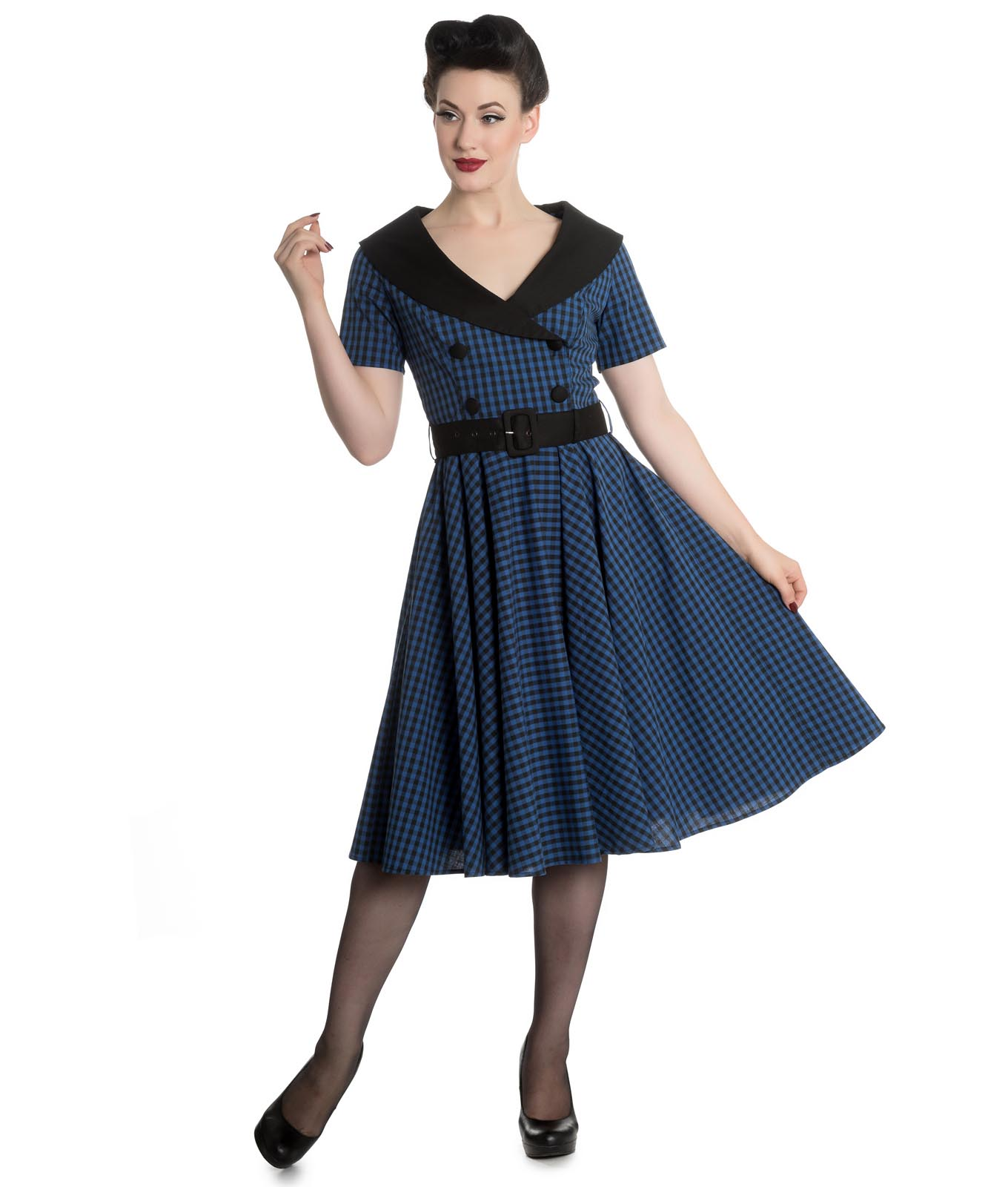 Hell-Bunny-40s-50s-Pin-Up-Swing-Dress-Black-Navy-BRIDGET-Gingham-All-Sizes thumbnail 3
