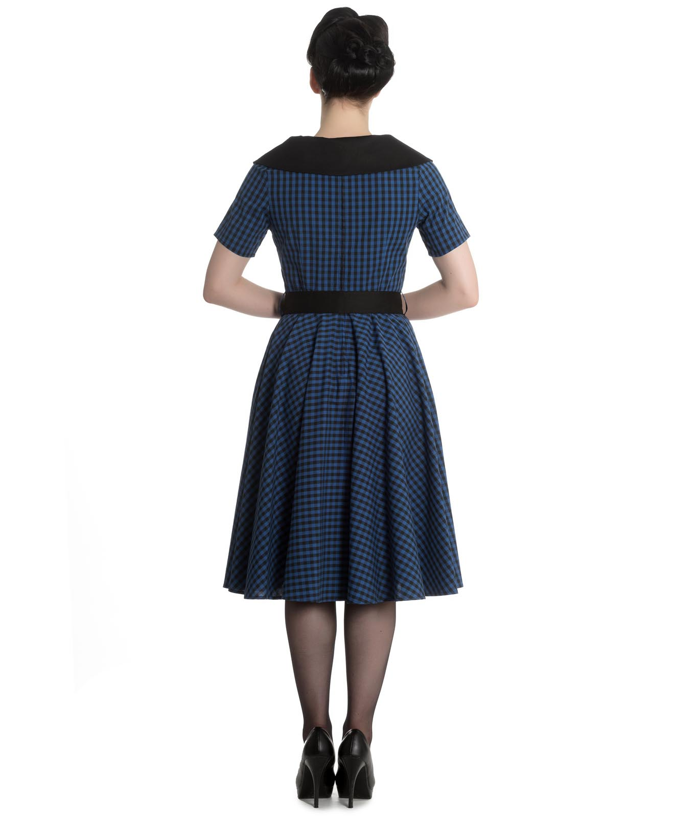 Hell-Bunny-40s-50s-Pin-Up-Swing-Dress-Black-Navy-BRIDGET-Gingham-All-Sizes thumbnail 5