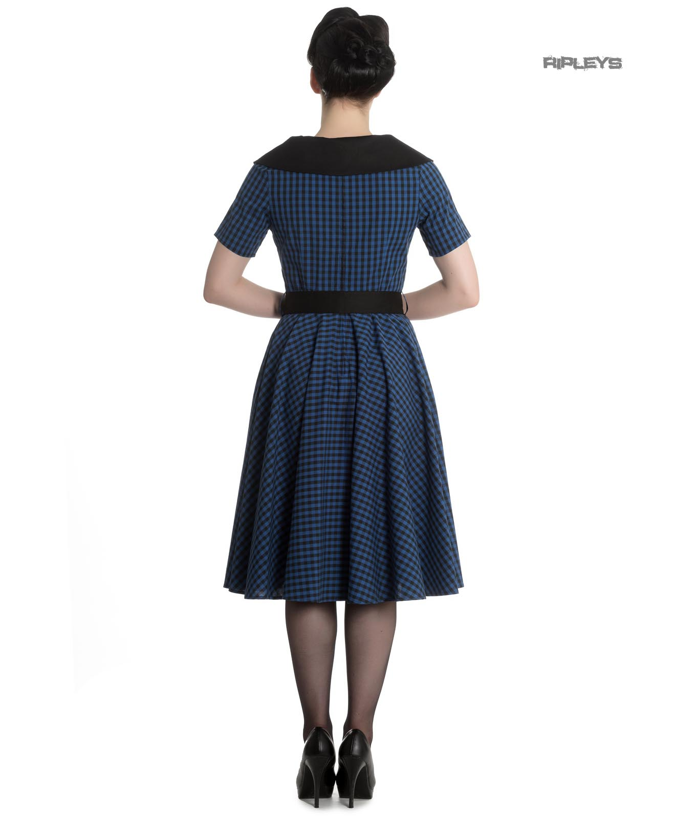 Hell-Bunny-40s-50s-Pin-Up-Swing-Dress-Black-Navy-BRIDGET-Gingham-All-Sizes thumbnail 4