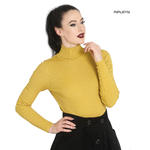 Hell Bunny Shirt Rib Polo Neck Top SPIROS Mustard Yellow Long Sleeves All Sizes Thumbnail 1