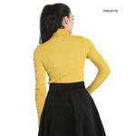 Hell Bunny Shirt Rib Polo Neck Top SPIROS Mustard Yellow Long Sleeves All Sizes Thumbnail 3