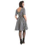 Hell Bunny Pin Up Mid Length 50s Dress FROSTINE Silver Grey Tartan All Sizes Thumbnail 4