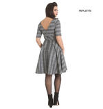 Hell Bunny Pin Up Mid Length 50s Dress FROSTINE Silver Grey Tartan All Sizes Thumbnail 3