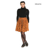 Hell Bunny Vintage 50s Brown Mini Skater Skirt VIXEY Fox Print Vixen All Sizes Thumbnail 1