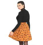 Hell Bunny Vintage 50s Brown Mini Skater Skirt VIXEY Fox Print Vixen All Sizes Thumbnail 4