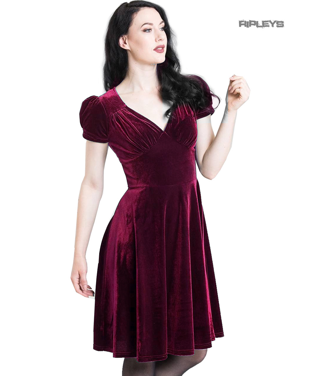 Hell-Bunny-40s-50s-Elegant-Pin-Up-Dress-JOANNE-Crushed-Velvet-Burgundy-All-Sizes thumbnail 14