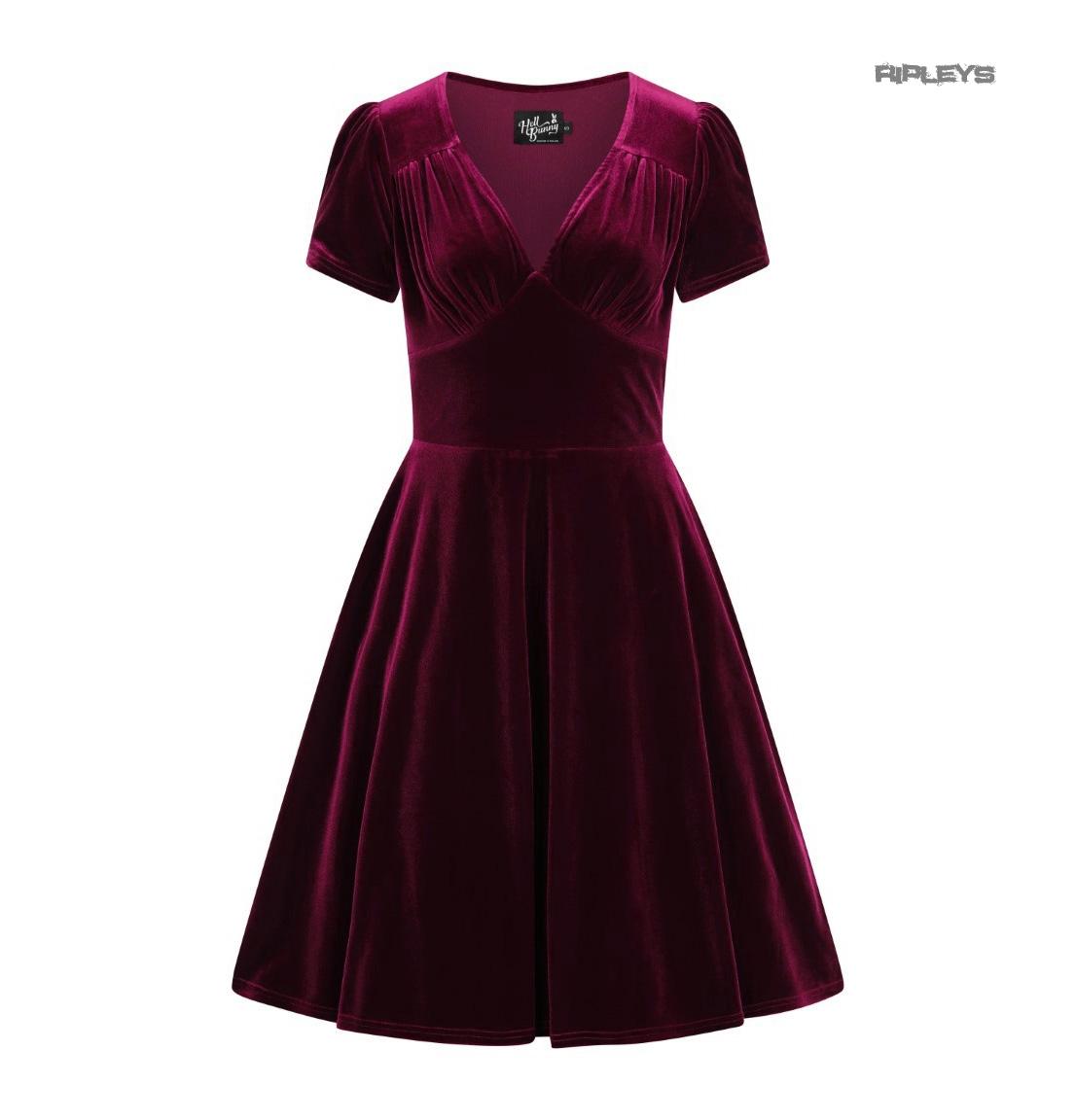 Hell-Bunny-40s-50s-Elegant-Pin-Up-Dress-JOANNE-Crushed-Velvet-Burgundy-All-Sizes thumbnail 10