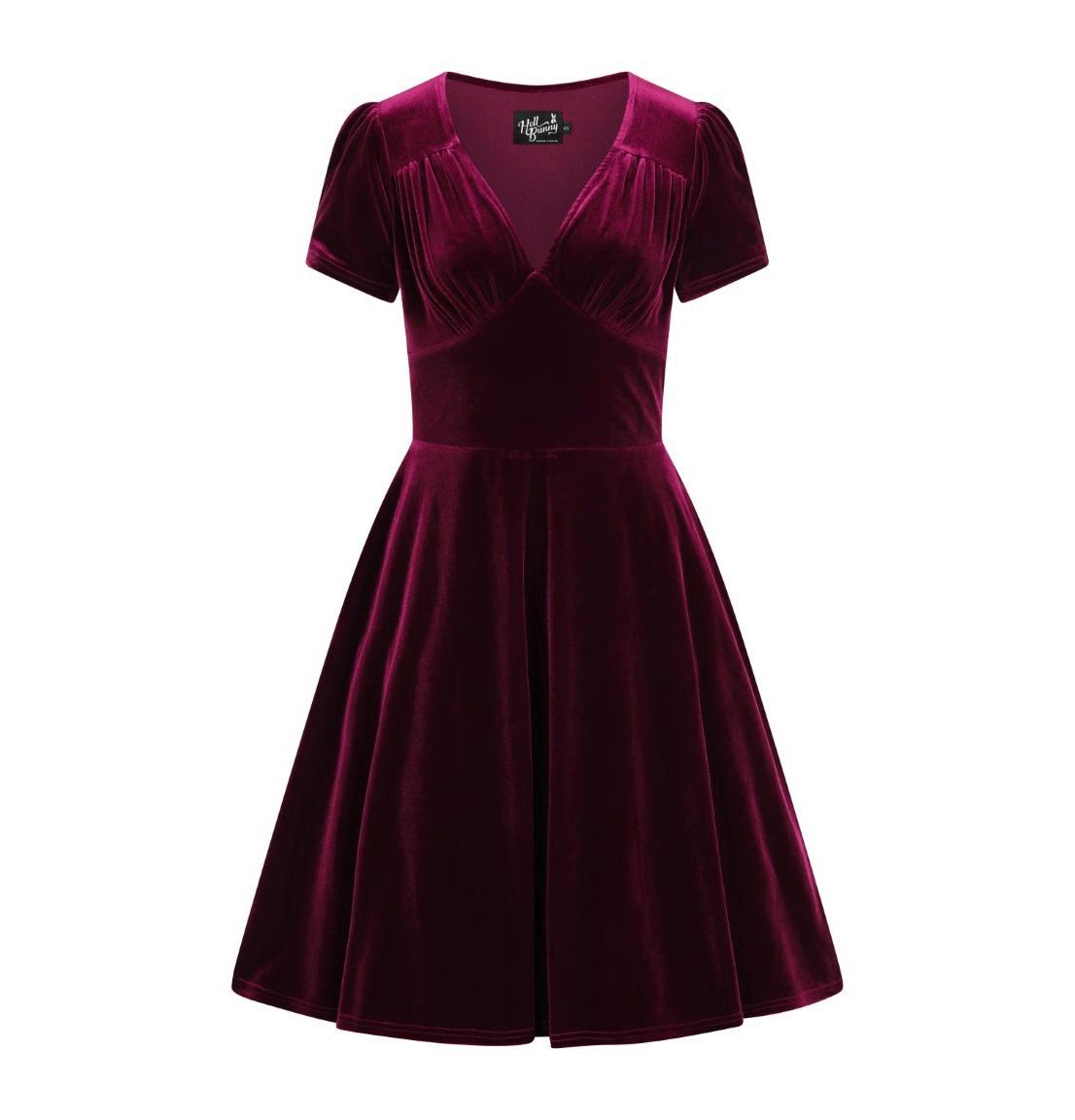 Hell-Bunny-40s-50s-Elegant-Pin-Up-Dress-JOANNE-Crushed-Velvet-Burgundy-All-Sizes thumbnail 5