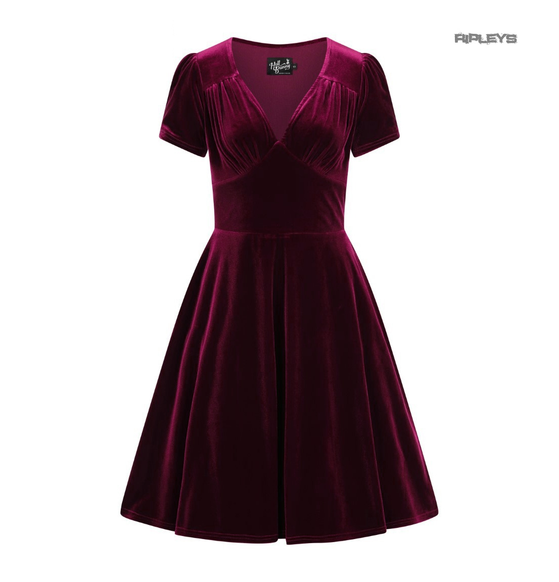 Hell-Bunny-40s-50s-Elegant-Pin-Up-Dress-JOANNE-Crushed-Velvet-Burgundy-All-Sizes thumbnail 4