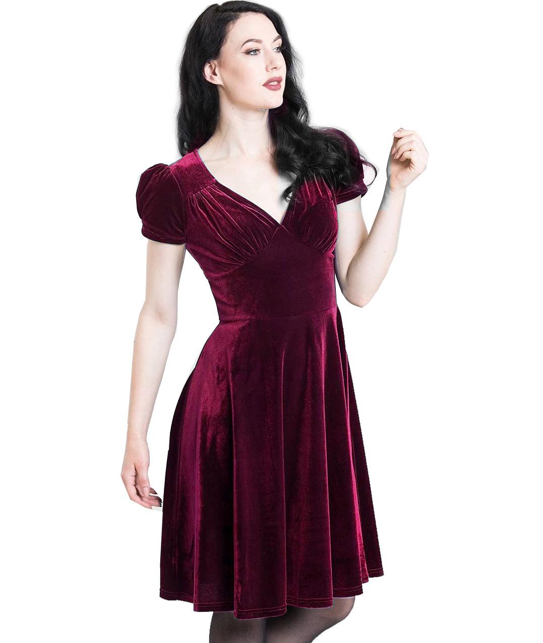 Hell-Bunny-40s-50s-Elegant-Pin-Up-Dress-JOANNE-Crushed-Velvet-Burgundy-All-Sizes thumbnail 3