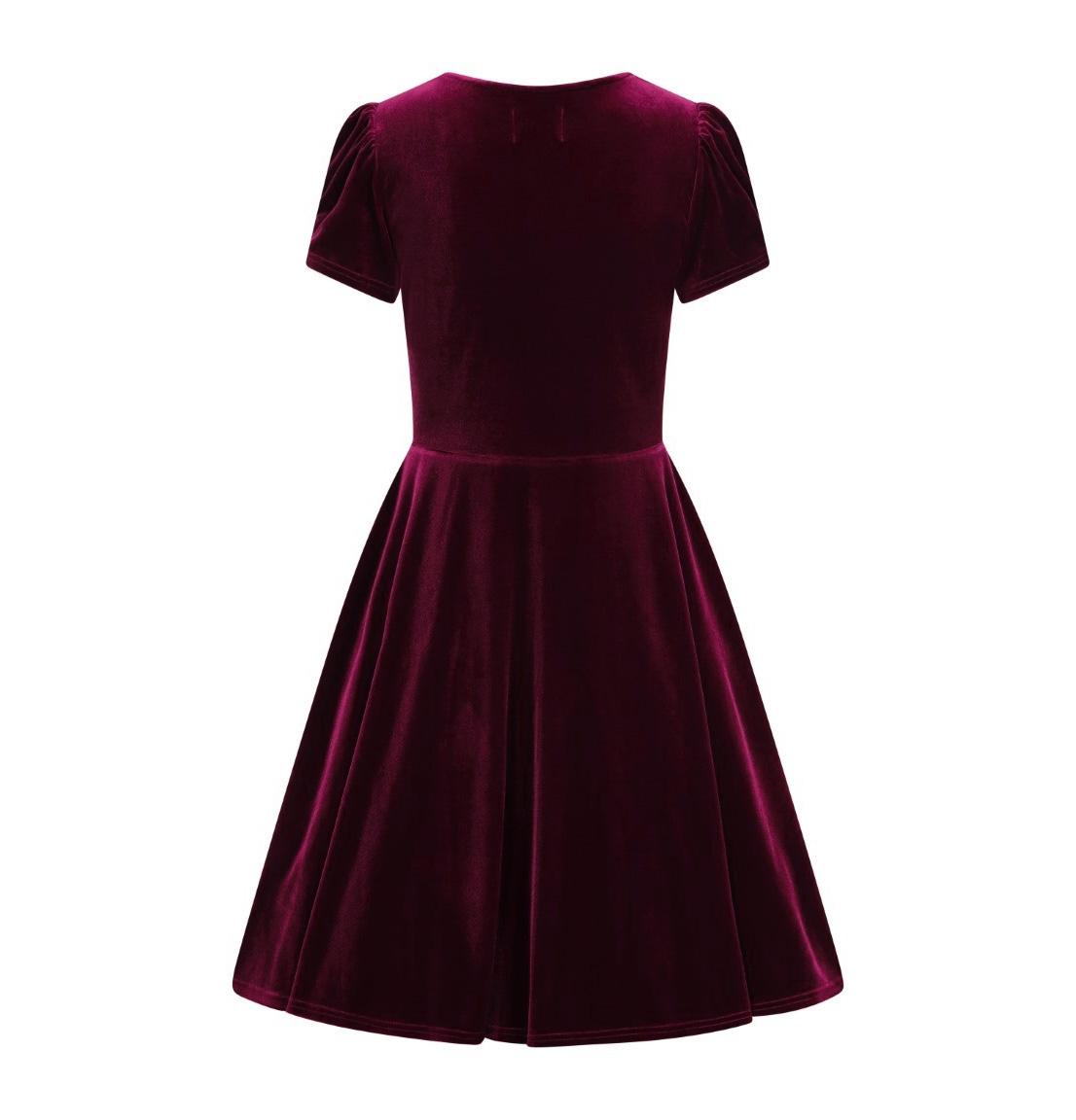 Hell-Bunny-40s-50s-Elegant-Pin-Up-Dress-JOANNE-Crushed-Velvet-Burgundy-All-Sizes thumbnail 7