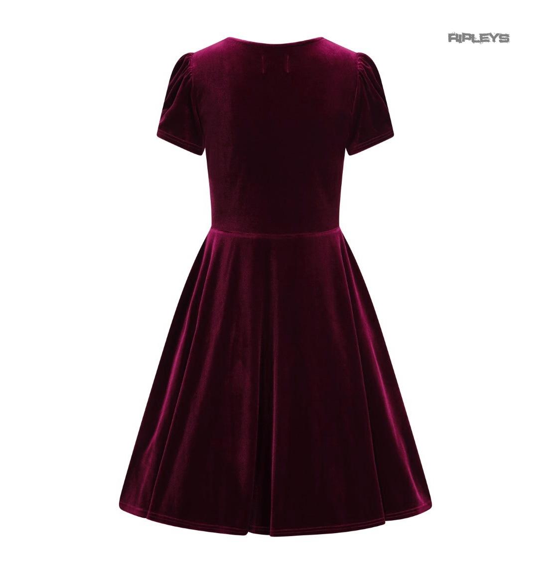 Hell-Bunny-40s-50s-Elegant-Pin-Up-Dress-JOANNE-Crushed-Velvet-Burgundy-All-Sizes thumbnail 6