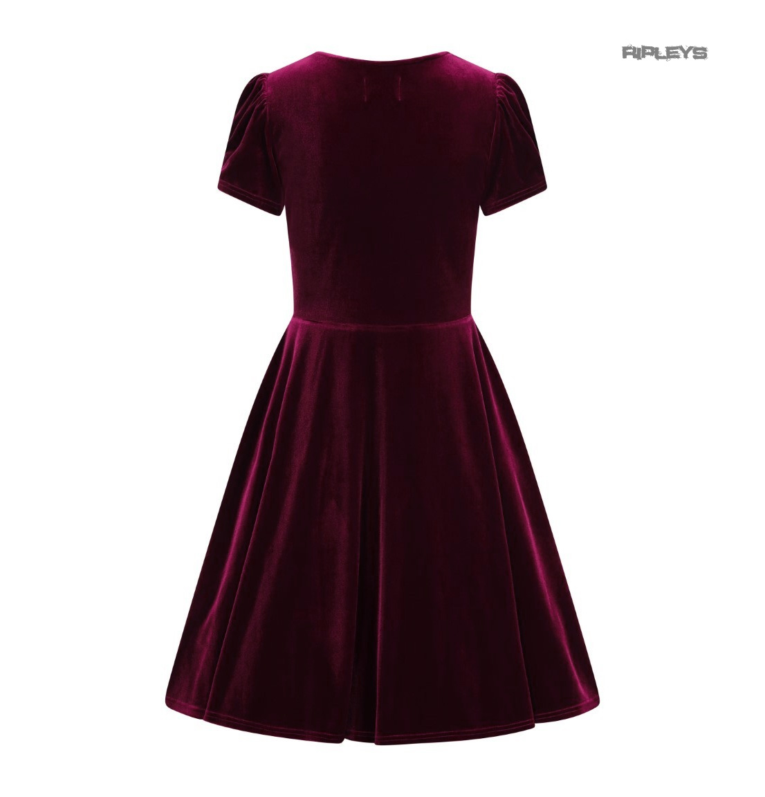 Hell-Bunny-40s-50s-Elegant-Pin-Up-Dress-JOANNE-Crushed-Velvet-Burgundy-All-Sizes thumbnail 42