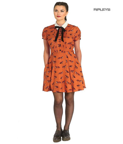 Hell Bunny 40s 50s Brown Mini Dress Pin Up VIXEY Vixen Fox Print All Sizes