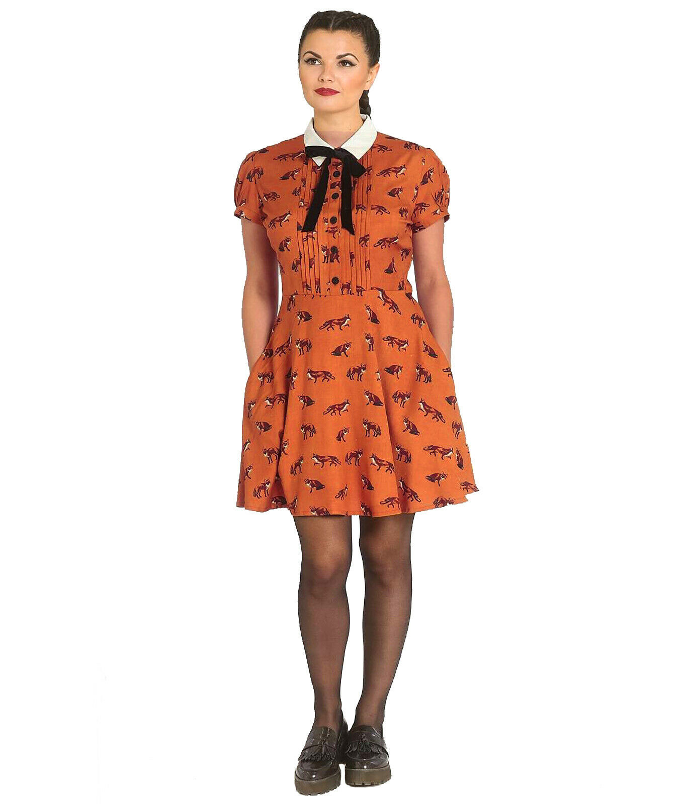 Hell-Bunny-40s-50s-Brown-Mini-Dress-Pin-Up-VIXEY-Vixen-Fox-Print-All-Sizes thumbnail 9