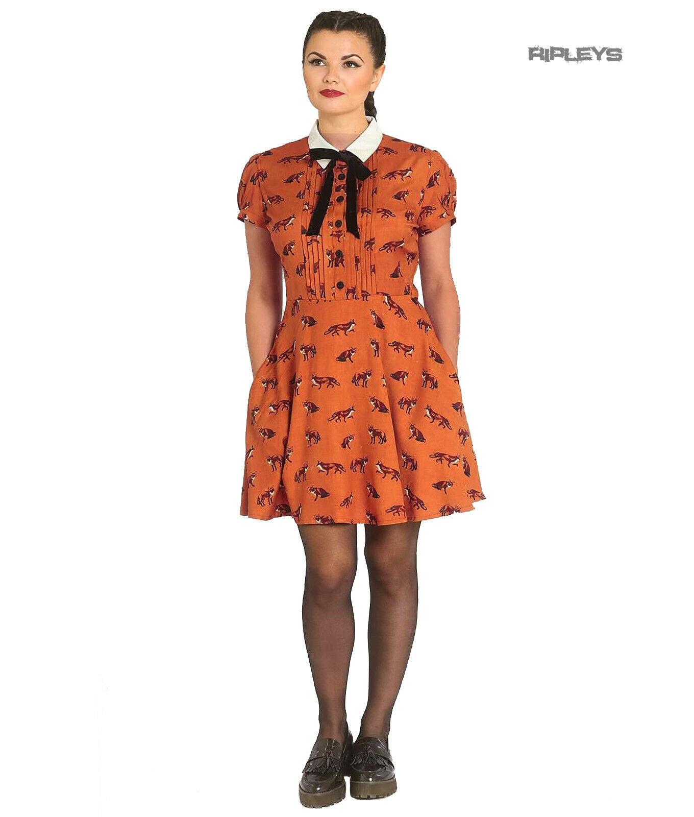 Hell-Bunny-40s-50s-Brown-Mini-Dress-Pin-Up-VIXEY-Vixen-Fox-Print-All-Sizes thumbnail 2