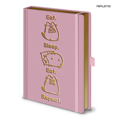 Official PUSHEEN Premium A5 Notebook EAT SLEEP REPEAT Pink/Gold Stationery Gift