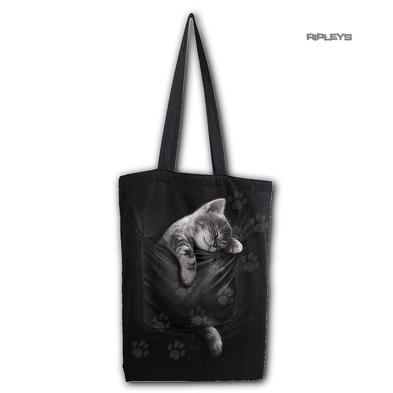 Spiral Ladies Gothic Cute POCKET KITTEN Cat Canvas Tote Bag 4 Life