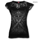 Spiral Ladies Black Gothic Vampire STRAPPED Steampunk Top Lace  All Sizes Thumbnail 1