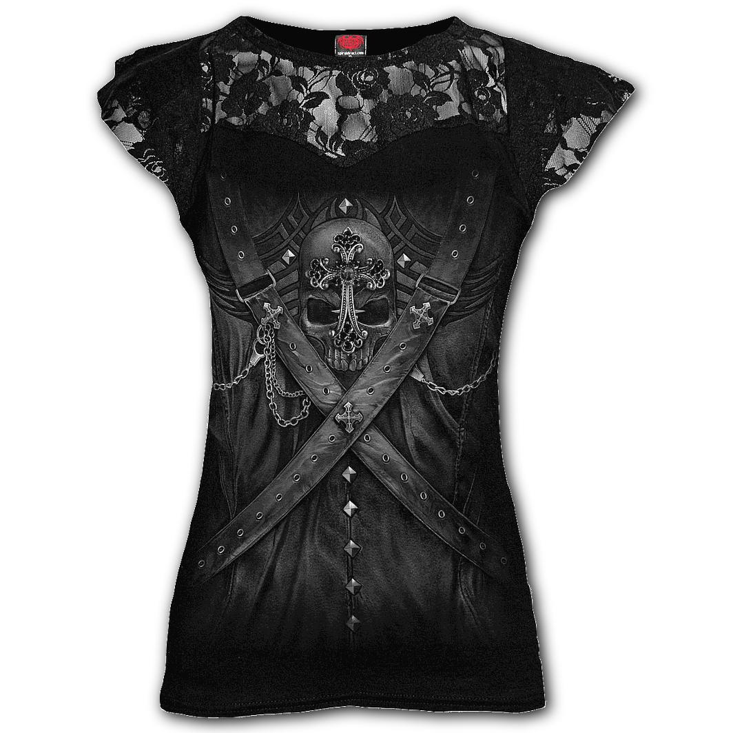 Spiral-Ladies-Black-Gothic-Vampire-STRAPPED-Steampunk-Top-Lace-All-Sizes thumbnail 3