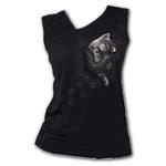Spiral Direct Ladies Black Goth Cute POCKET KITTEN Cat Slant Vest/Top All Sizes Thumbnail 2