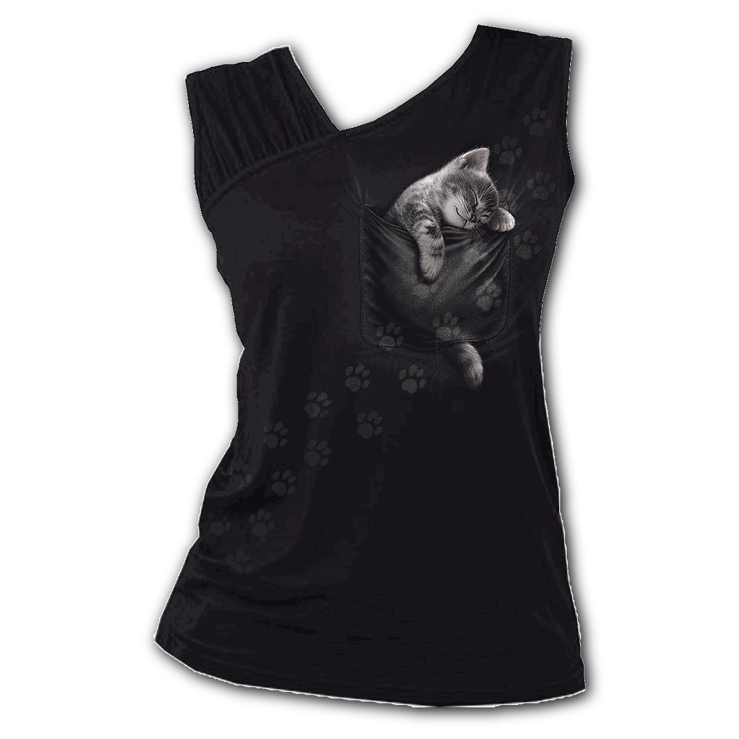Spiral-Direct-Ladies-Black-Goth-Cute-POCKET-KITTEN-Cat-Slant-Vest-Top-All-Sizes thumbnail 3