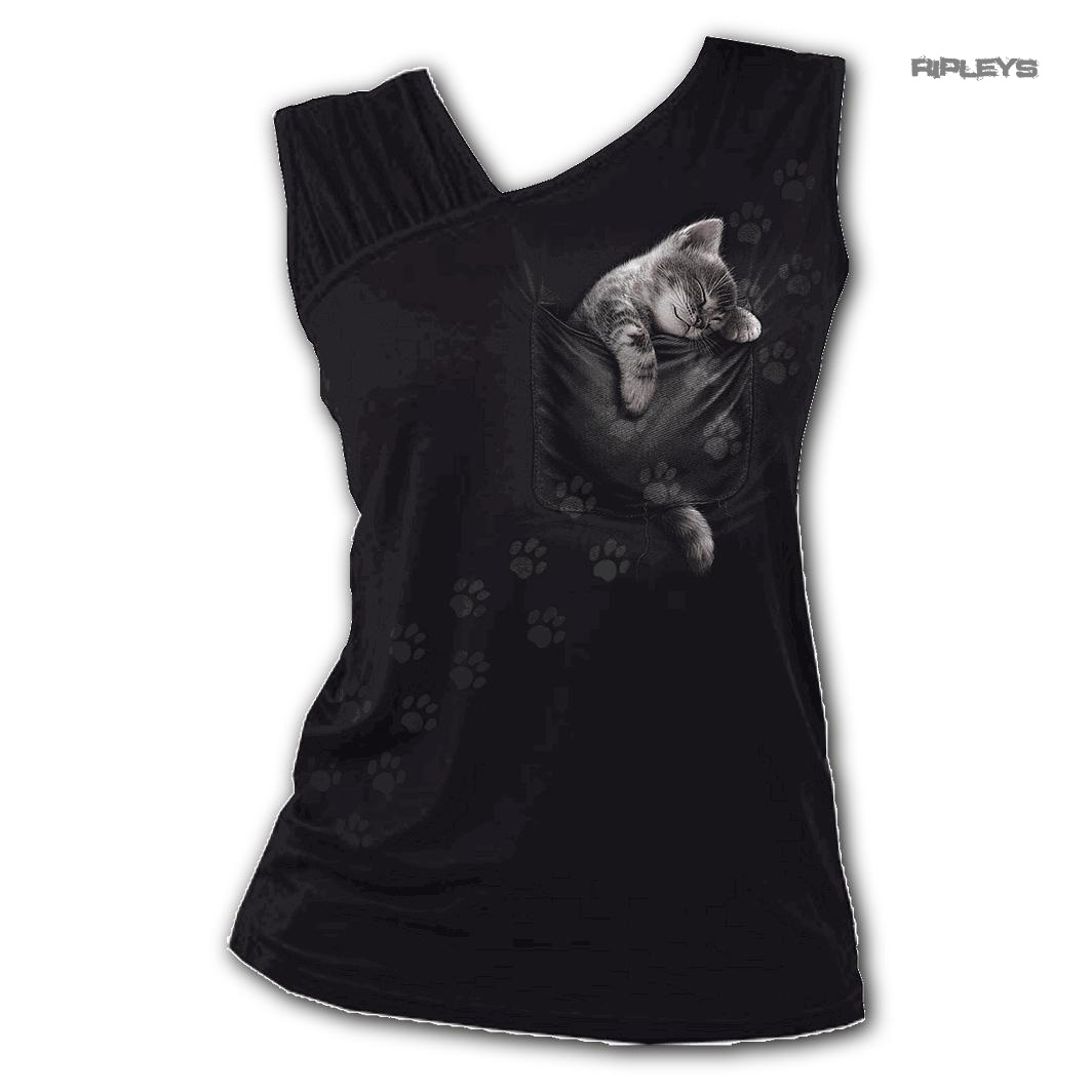 Spiral-Direct-Ladies-Black-Goth-Cute-POCKET-KITTEN-Cat-Slant-Vest-Top-All-Sizes thumbnail 2