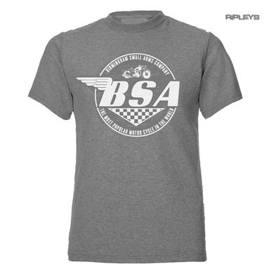 Official T Shirt Grey Vintage BSA British Motorbike 'Most Popular' All Sizes