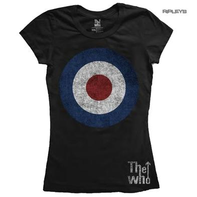 Official Black Skinny THE WHO T Shirt 'Target Distressed' Logo All Sizes Preview