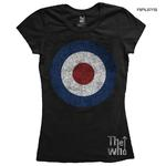 Official Black Skinny THE WHO T Shirt 'Target Distressed' Logo All Sizes Thumbnail 1