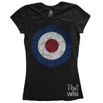 Official Black Skinny THE WHO T Shirt 'Target Distressed' Logo All Sizes Thumbnail 2