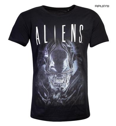Official Black T Shirt ALIENS Movie H.R.Giger Xenomorph 'Say Cheese' All Sizes