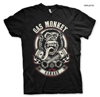 Official T Shirt GMG Gas Monkey Garage Hot Rod 'Piston & Flames' Black All Sizes