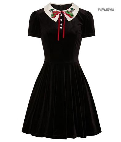 Hell Bunny Goth Mini Skater Dress NIGHTSHADE Poison Cherry Black Velvet All Size