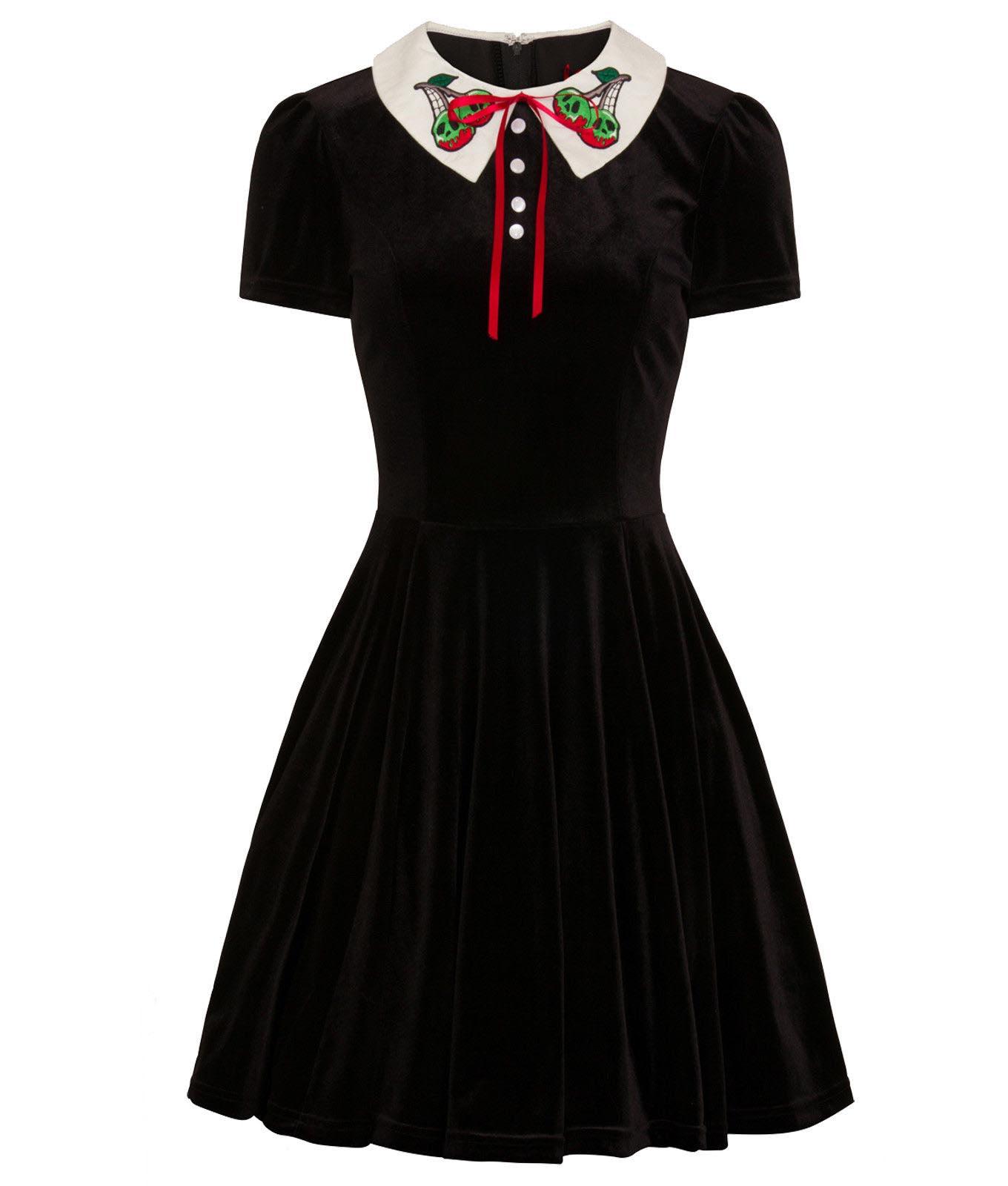 Hell-Bunny-Goth-Mini-Skater-Dress-NIGHTSHADE-Poison-Cherry-Black-Velvet-All-Size thumbnail 11