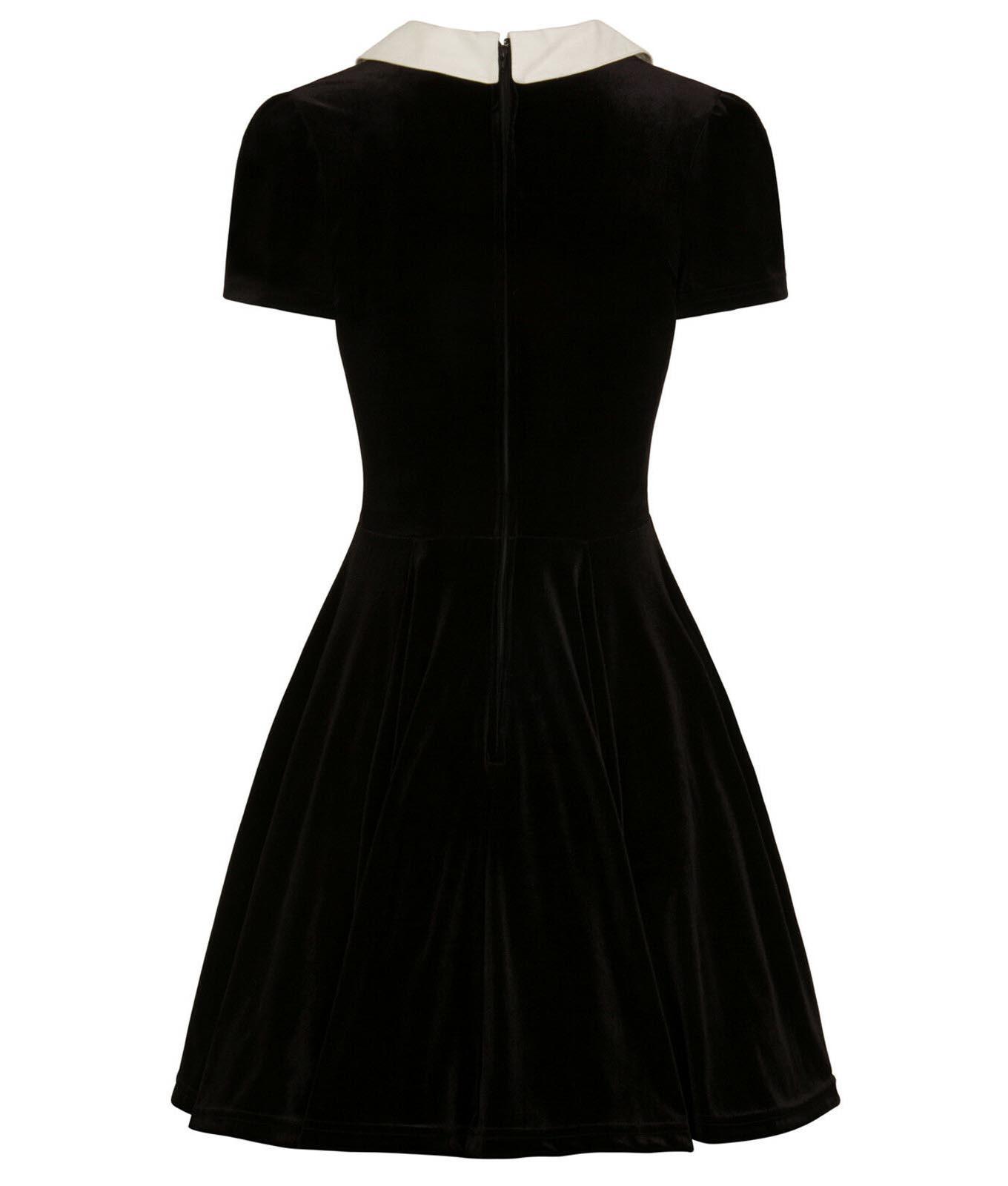 Hell-Bunny-Goth-Mini-Skater-Dress-NIGHTSHADE-Poison-Cherry-Black-Velvet-All-Size thumbnail 5