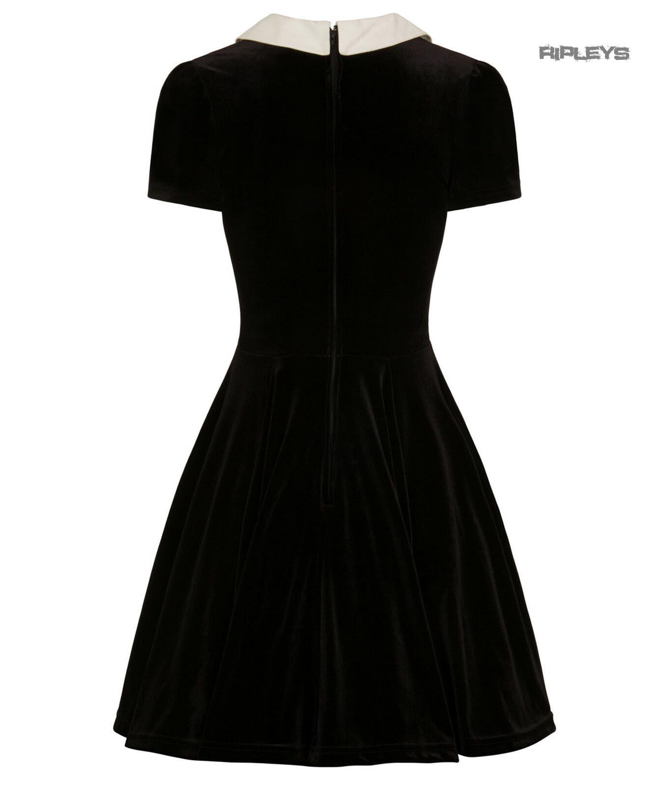 Hell-Bunny-Goth-Mini-Skater-Dress-NIGHTSHADE-Poison-Cherry-Black-Velvet-All-Size thumbnail 4