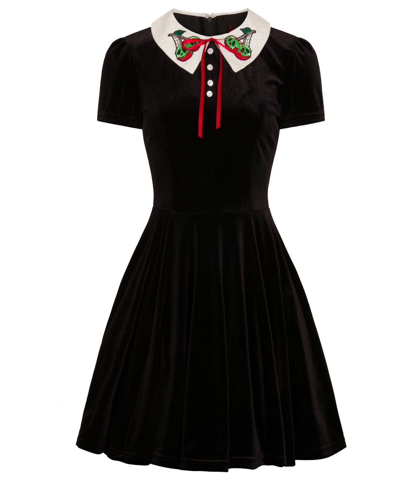 Hell-Bunny-Goth-Mini-Skater-Dress-NIGHTSHADE-Poison-Cherry-Black-Velvet-All-Size thumbnail 3