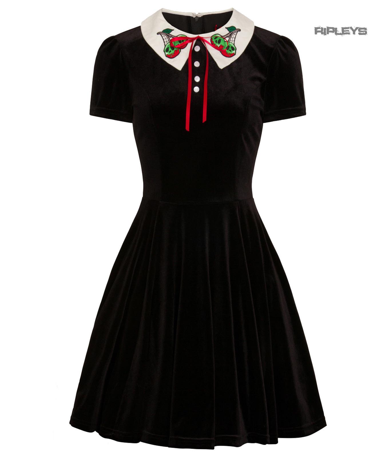 Hell-Bunny-Goth-Mini-Skater-Dress-NIGHTSHADE-Poison-Cherry-Black-Velvet-All-Size thumbnail 2