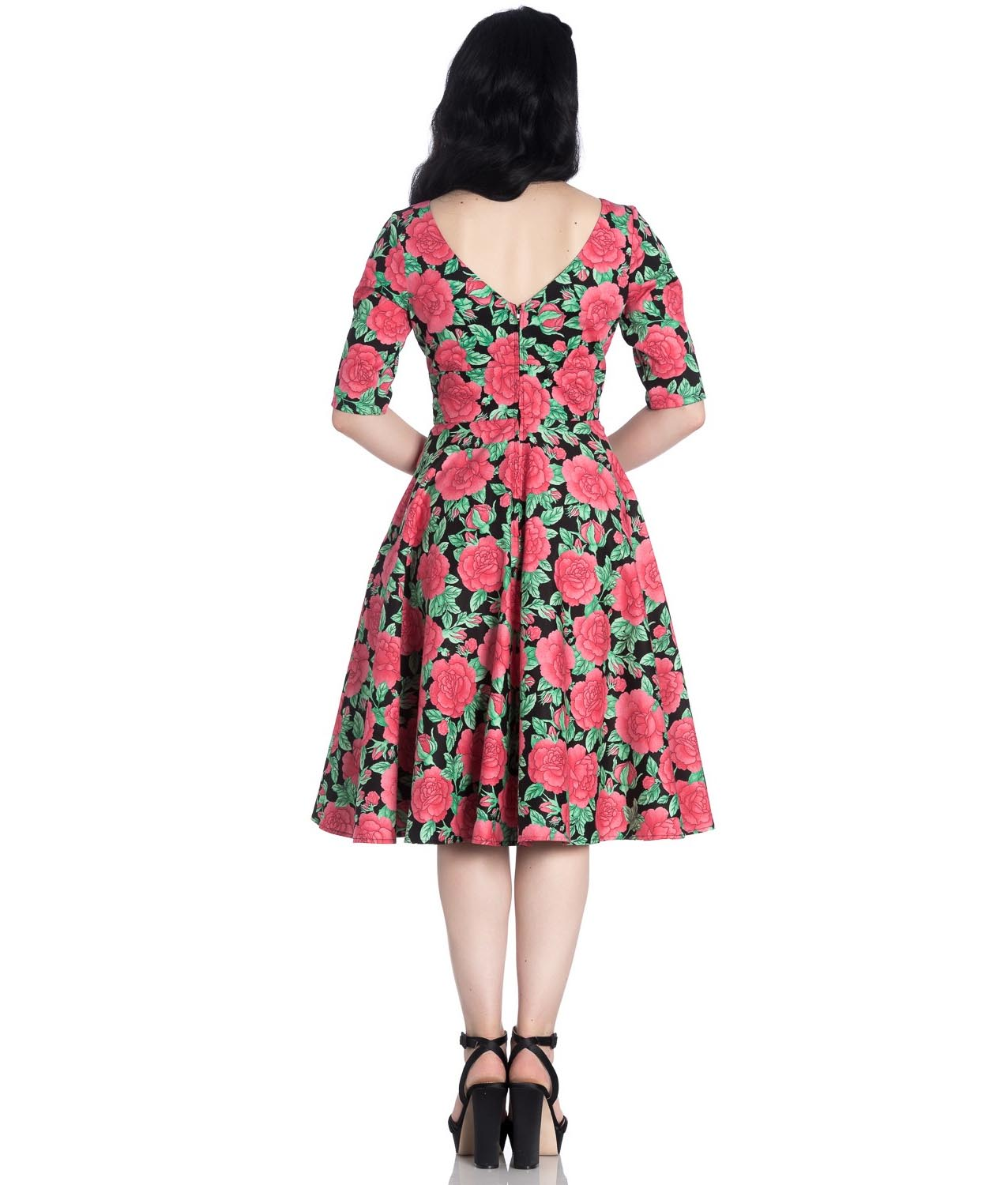 Hell-Bunny-40s-50s-Black-Pin-Up-Vintage-Dress-DARCY-Pink-Roses-All-Sizes thumbnail 5